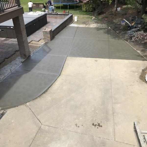 Patio pavers with block wall 2