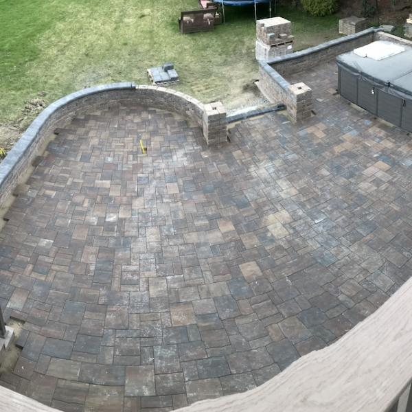 Patio pavers with block wall